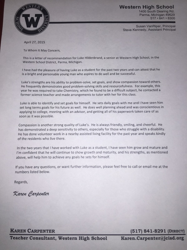 recommendation letter from karen carpenter luke hildenbrand2015 senior portfolio